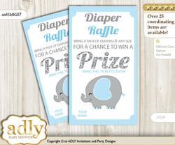 Peanut Elephant Diaper Raffle Printable Tickets for Baby Shower, Blue Grey, Boy