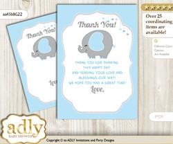 Peanut  Elephant Thank you Cards for a Baby Peanut Shower or Birthday DIY Blue Grey, Boy