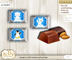 Boy Arctic Chocolate Nuggets Candy Wrapper Label for Baby Boy Shower  Blue Silver , Winter