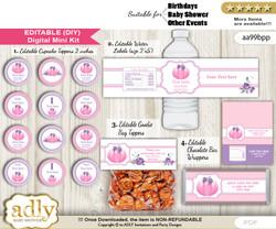 DIY Text Editable Girl Pumpkin Baby Shower, Birthday digital package, kit-cupcake, goodie bag toppers, water labels, chocolate bar wrappers nm
