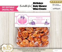 DIY Text Editable Girl Pumpkin Goodie  Treat Bag Toppers, Favor Bag Digital File, print at home  nm