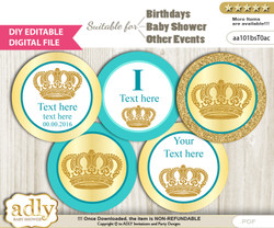 DIY Text Editable Prince Royal Cupcake Toppers Digital File, print at home, suitable for birthday, baby shower, baptism f