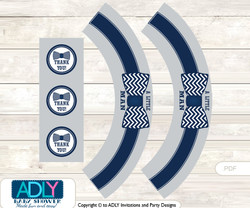 Printable  Lil Man Bow TieCupcake, Muffins Wrappers plus Thank You tags for Baby Shower  grey bku,  Chevron