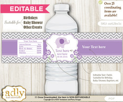 DIY Text Editable Girl Elephant Water Bottle Label, Personalizable Wrapper Digital File, print at home for any event  b