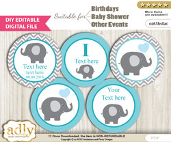DIY Text Editable Boy Elephant Cupcake Toppers Digital File, print at home, suitable for birthday, baby shower, baptism n
