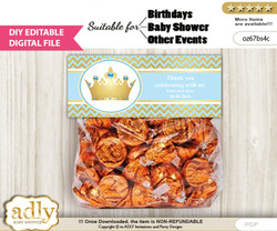 DIY Text Editable Blue Prince Goodie  Treat Bag Toppers, Favor Bag Digital File, print at home