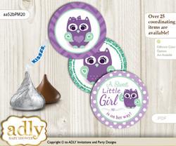 Printable  Girl Owl  Candy Kisses for Baby Girl Shower DIY Purple Green , Mint