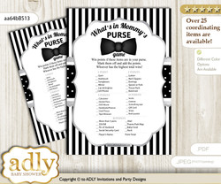 Boy Bow Tie What is in Mommy's Purse, Baby Shower Purse Game Printable Card , Black Silver,  Little Man