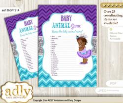 Printable African Princess Baby Animal Game, Guess Names of Baby Animals Printable for Baby Princess Shower, Purple Teal, Silver