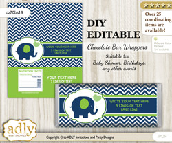 DIY Personalizable Boy Elephant Chocolate Bar Candy Wrapper Label for Boy  baby shower, birthday Green , editable wrappers n