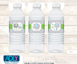 Grey ElephantWater Bottle Wrappers, Labels for a  Elephant  Baby Shower,  Blue Green,  Chevron