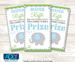 Grey ElephantDiaper Raffle Printable Tickets for Baby Shower,  Blue Green,  Chevron