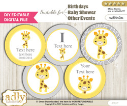 DIY Text Editable Neutral Giraffe Cupcake Toppers Digital File, print at home, suitable for birthday, baby shower, baptism