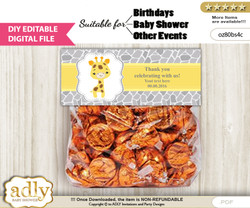 DIY Text Editable Neutral Giraffe Goodie  Treat Bag Toppers, Favor Bag Digital File, print at home