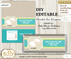 DIY Personalizable Neutral Lamb Chocolate Bar Candy Wrapper Label for Neutral  baby shower, birthday Polka , editable wrappers
