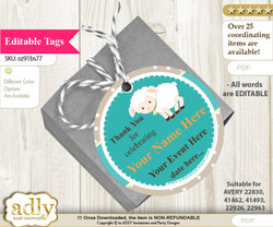 Neutral Lamb Thank You Tags, Circle Favor Tags Personalizable for Shower, Birthday