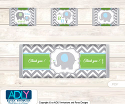 Grey Elephant Chocolate Bar Wrapper and Nuggets Candy Wrapper Label for Baby  GreyShower  Blue Green ,  Chevron