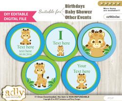 DIY Text Editable Boy Giraffe Cupcake Toppers Digital File, print at home, suitable for birthday, baby shower, baptism