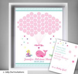 GirlWhale  Guest Book Alternative for a Baby Shower, Creative Nursery Wall Art Gift,  Crocodile,  Turtle