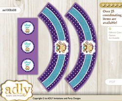 Printable Girl Monkey Cupcake, Muffins Wrappers plus Thank You tags for Baby Shower Purple Teal, Polka