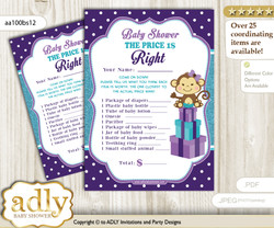 Printable Girl Monkey Price is Right Game Card for Baby Monkey Shower, Purple Teal, Polka