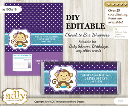 DIY Personalizable Girl Monkey Chocolate Bar Candy Wrapper Label for Girl  baby shower, birthday Purple Teal , editable wrappers