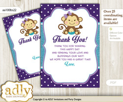 Girl  Monkey Thank you Cards for a Baby Girl Shower or Birthday DIY Purple Teal, Polka