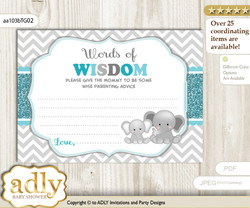 Teal Gray Peanut Unisex Words of Wisdom or an Advice Printable Card for Baby Shower, Chevron
