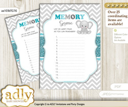 Peanut Unisex Memory Game Card for Baby Shower, Printable Guess Card, Teal Gray, Chevron