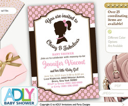 Vintage Classy and Fabulous gucci inspired baby shower invitation. Pink, brown, retro invitation