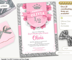 Half way to ONE, 1/2 Birthday Invitation for Little Princess in Pink and Silver Glitter