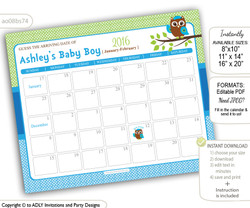 Blue Green Boy Elephant Baby Due Date Calendar, guess baby arrival date game