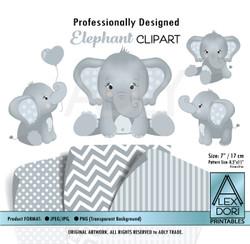 Baby Blue and Soft Gray Baby Elephants Peanut Balloon Clipart