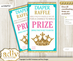 Princess  Royal Diaper Raffle Printable Tickets for Baby Shower, Pink Turquoise, Crown