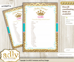 Printable Princess  Royal Baby Animal Game, Guess Names of Baby Animals Printable for Baby  Royal Shower, Pink Turquoise, Crown