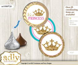 Printable  Princess  Royal Candy Kisses for Baby Princess Shower DIY Pink Turquoise , Crown