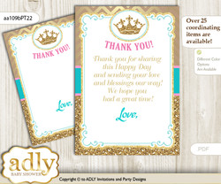 Princess   Royal Thank you Cards for a Baby Princess Shower or Birthday DIY Pink Turquoise, Crown