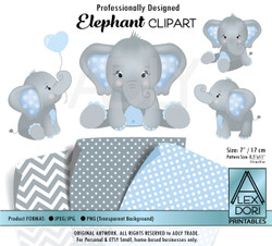 Baby Blue and Baby Elephants Peanut Balloon Clipart