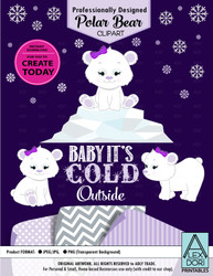 Purple Baby Polar Bear Set Winter Wonderland Clipart