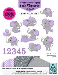 Clipart Elephant Gray & Purple Girl Elephant/Peanut Birthday Set