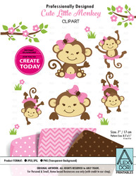 Clipart Cute Monkey Set Pink Girl