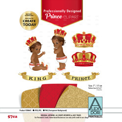 Royal African-Ameircan Red and Gold baby clipart, prince king digital clipart,crown clip art