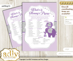 Elephant Peanut What is in Mommy's Purse, Baby Shower Purse Game Printable Card , purple gray,  Glitter