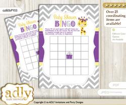 Printable Purple Yellow Girl Bingo Game Printable Card for Baby Giraffe Shower DIY grey, Purple Yellow, Safari