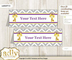 DIY Text Editable Printable Giraffe Girl Buffet Tags or Food Tent Labels  for a Baby Shower or Birthday , Purple Yellow, Safari
