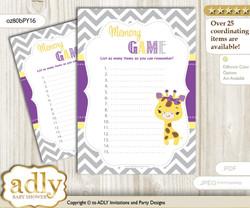 Giraffe Girl Memory Game Card for Baby Shower, Printable Guess Card, Purple Yellow, Safari