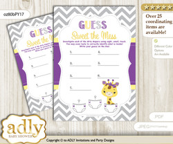 Giraffe Girl Dirty Diaper Game or Guess Sweet Mess Game for a Baby Shower Purple Yellow, Safari