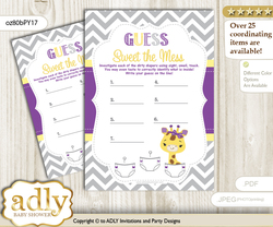 Giraffe Girl Dirty Diaper Game or Guess Sweet Mess Game for a Baby Shower Purple Yellow, Safari
