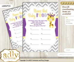 Giraffe Girl Guess Baby Food Game or Name That Baby Food Game for a Baby Shower, Purple Yellow Safari