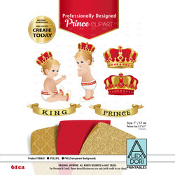 Royal Prince/King Baby Red and Gold Digital Clipart,Crown scrapbookcrown clipart, Royal baby shower